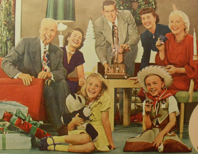 1950s Vintage Americana Family Photo Kids Cowboy Christmas Movie Projector Holiday Advertisement